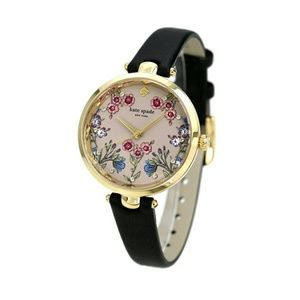 Kate Spade holland floral watch black leather